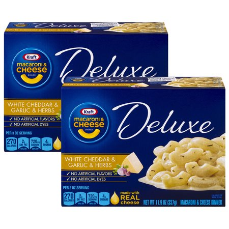 (2 Pack) Kraft Deluxe White Cheddar & Garlic & Herb Macaroni & Cheese Dinner, 11.9 oz Box
