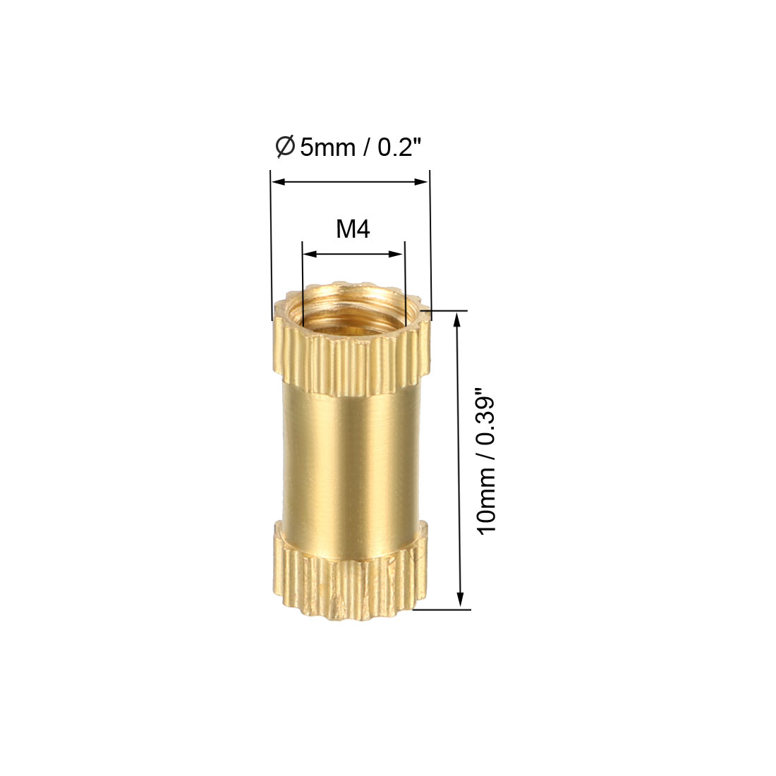 M4 x 10mm(L) x 5mm(OD) Brass Knurled Threaded Insert Embedment Nuts, 100 Pcs - image 1 de 3