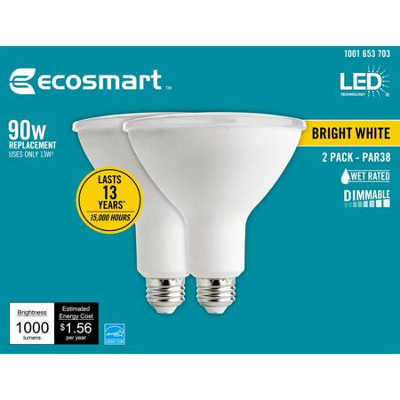 EcoSmart 90-Watt Equivalent PAR38 Dimmable Energy Star Flood LED Light Bulb Bright White (2-Pack)
