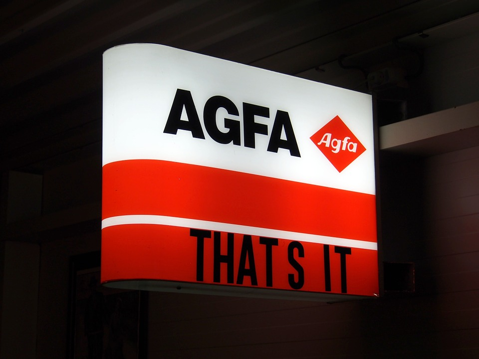 Canvas Print Sign Neon Agfa Company Luminous Advertising Brand Stretched Canvas 10 x 14 by