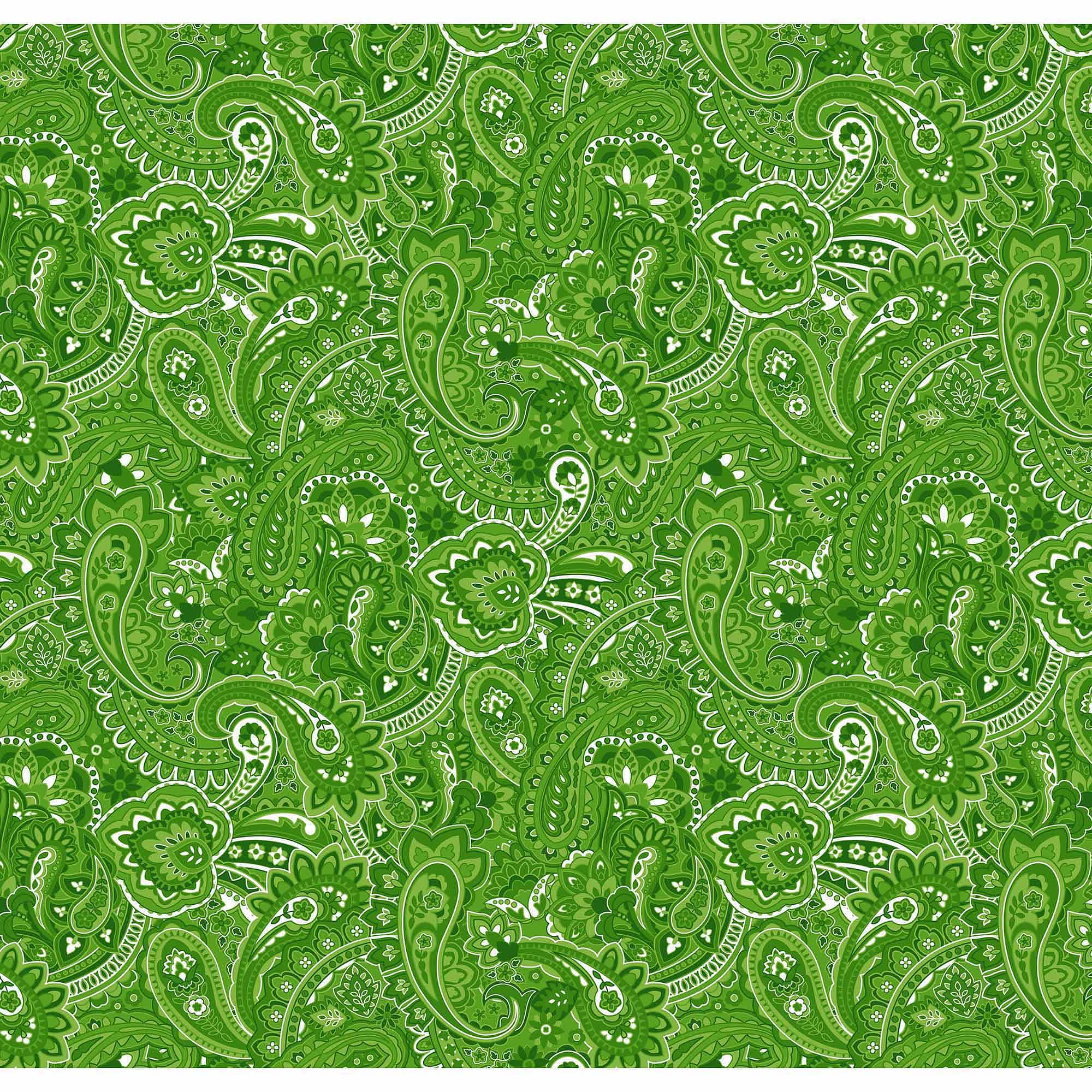 Springs Creative Cotton Blenders Gadabout Paisley, Green, Fabric by the Yard