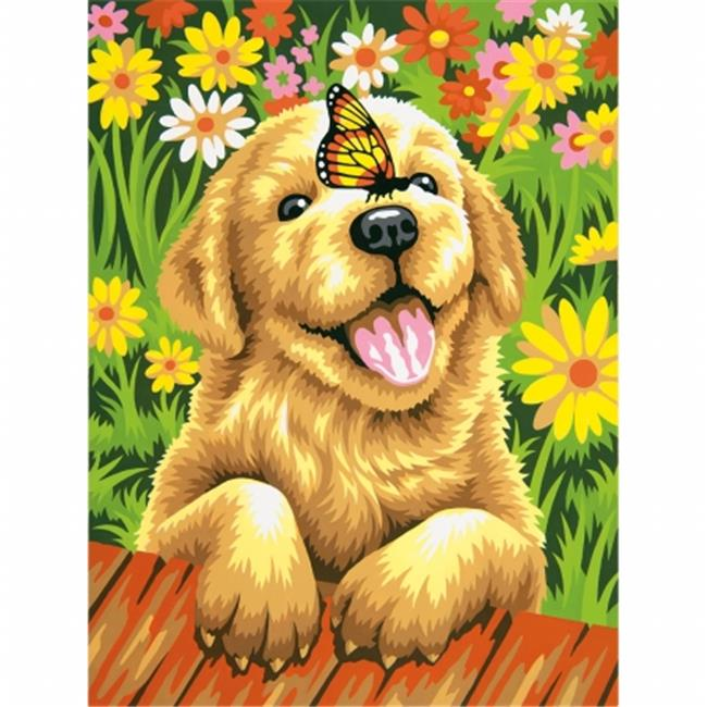 Dimensions 91457 Paint By Number Kit 9 inch x 12 inch-Puppy Gardener