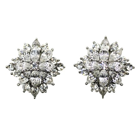 - Faship Gorgeous  Crystal Rhinestone Floral Clip On Earrings