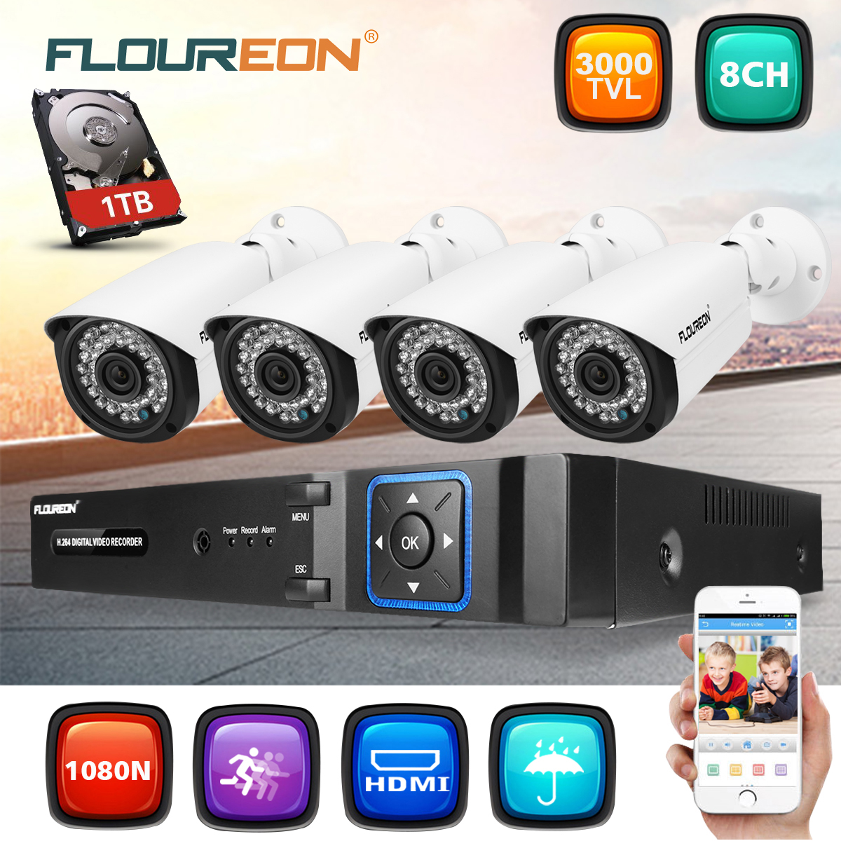 FLOUREON Hybrid AHD CCTV Security Camera 2.0MP 1080P AHD DVR 1080H 3000TVL Bullet Day Night Vision 36 IR LEDs Outdoor/Indoor Wide Angle 3.6mm Lens for CCTV Camera System (With 1 TB HDD)