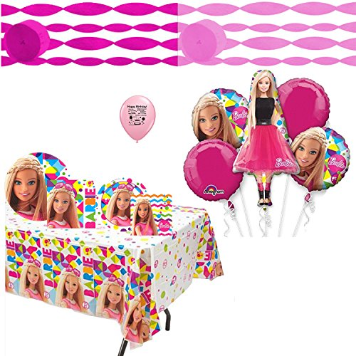 Barbie  Party Supplies Sparkle Deluxe Party Supplies and Balloon Bundle