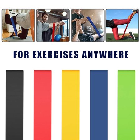 Resistance Loop Bands Set of 5 | Exercise Fitness Booty Bands for Legs and Glutes | Physical Therapy, Stretch, Elastic, Strength, Home (As Seen On Tv Booty Exercise Equipment)