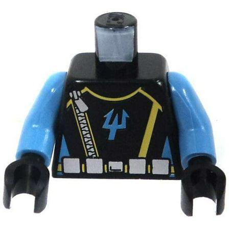 LEGO LEGO Aqua Raiders Black Torso with Blue Arms, Zipper & Silver Belt with Aqua Raider Trident in Blue Loose Torso