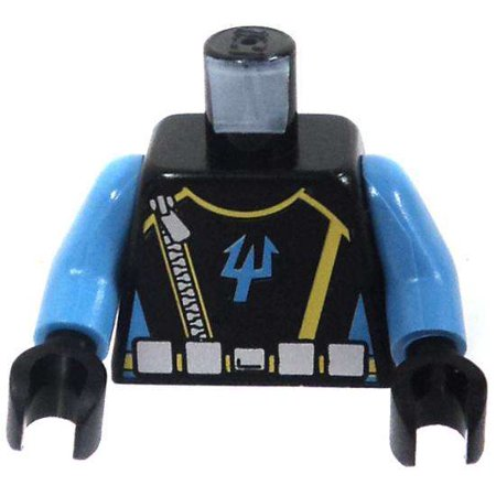LEGO LEGO Aqua Raiders Black Torso with Blue Arms, Zipper & Silver Belt with Aqua Raider Trident in Blue Loose -