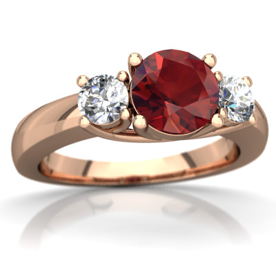 Garnet Three Stone Trellis Ring in 14K Rose Gold by