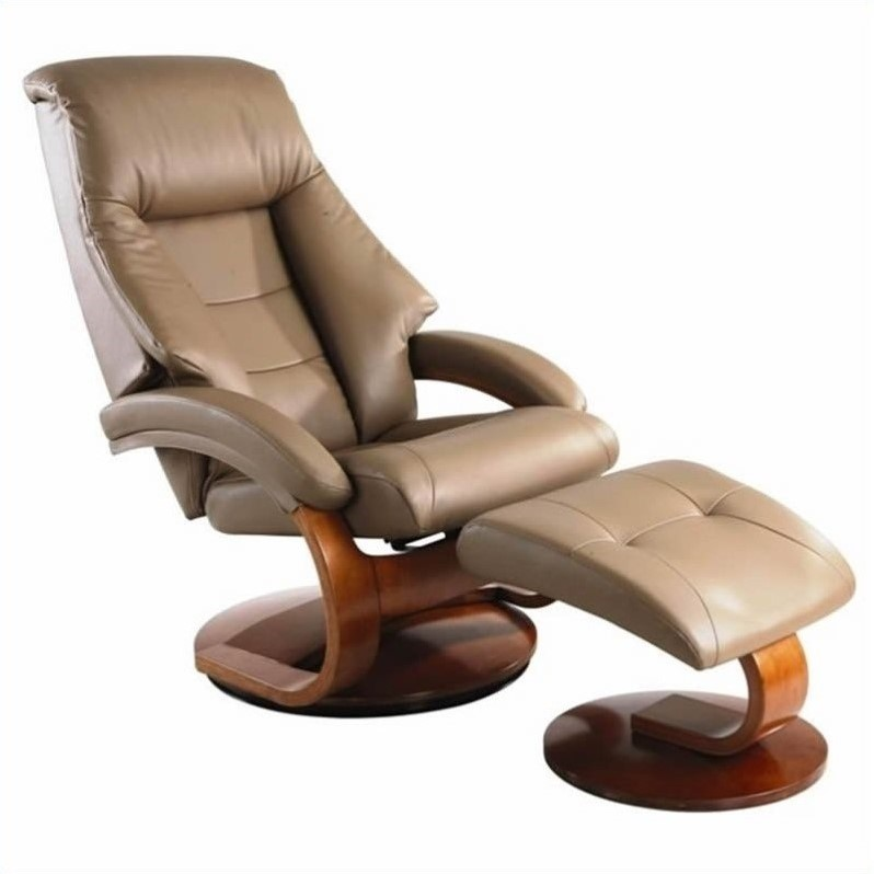 mac motion oslo leather swivel recliner with ottoman in sand