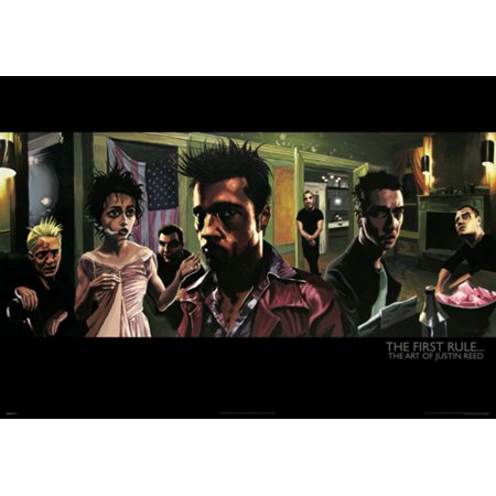 The First Rule Art of Justin Reed Fight Club Tyler Durden Movie Poster - 39x27 inch ()