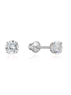 88a94c1f9 Product Image Sterling Silver Rhodium Plated 4mm Cubic Zirconia Stud Screwback  Baby Girls Earrings