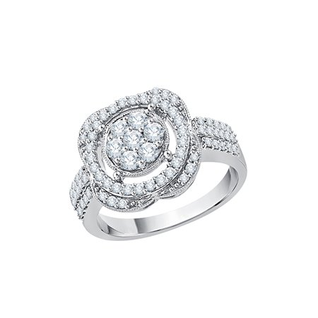 005ee957e46 KATARINA Diamond Cluster Engagement Ring in 14K White Gold (3 4 cttw