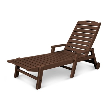 POLYWOOD® Nautical Stackable Wheeled Chaise with Arms Nautical Wheel Chaise Lounge