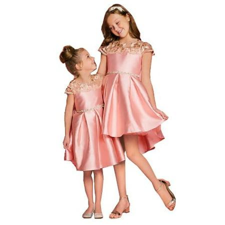 2898fb89b3 Rare Editions Little Girls Blush Lace Panel Stone Trim Hi-Low Dress -  Walmart.com