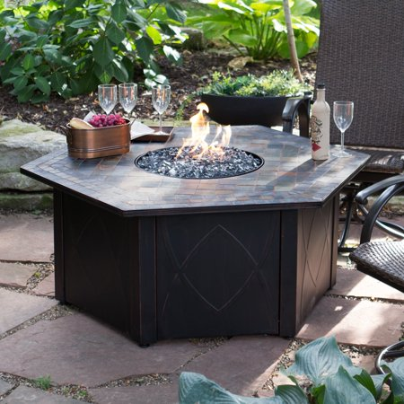 Outdoor Propane Fire Pit.Endless Summer 55 In Decorative Slate Tile Lp Gas Outdoor Fire Pit With Free Cover