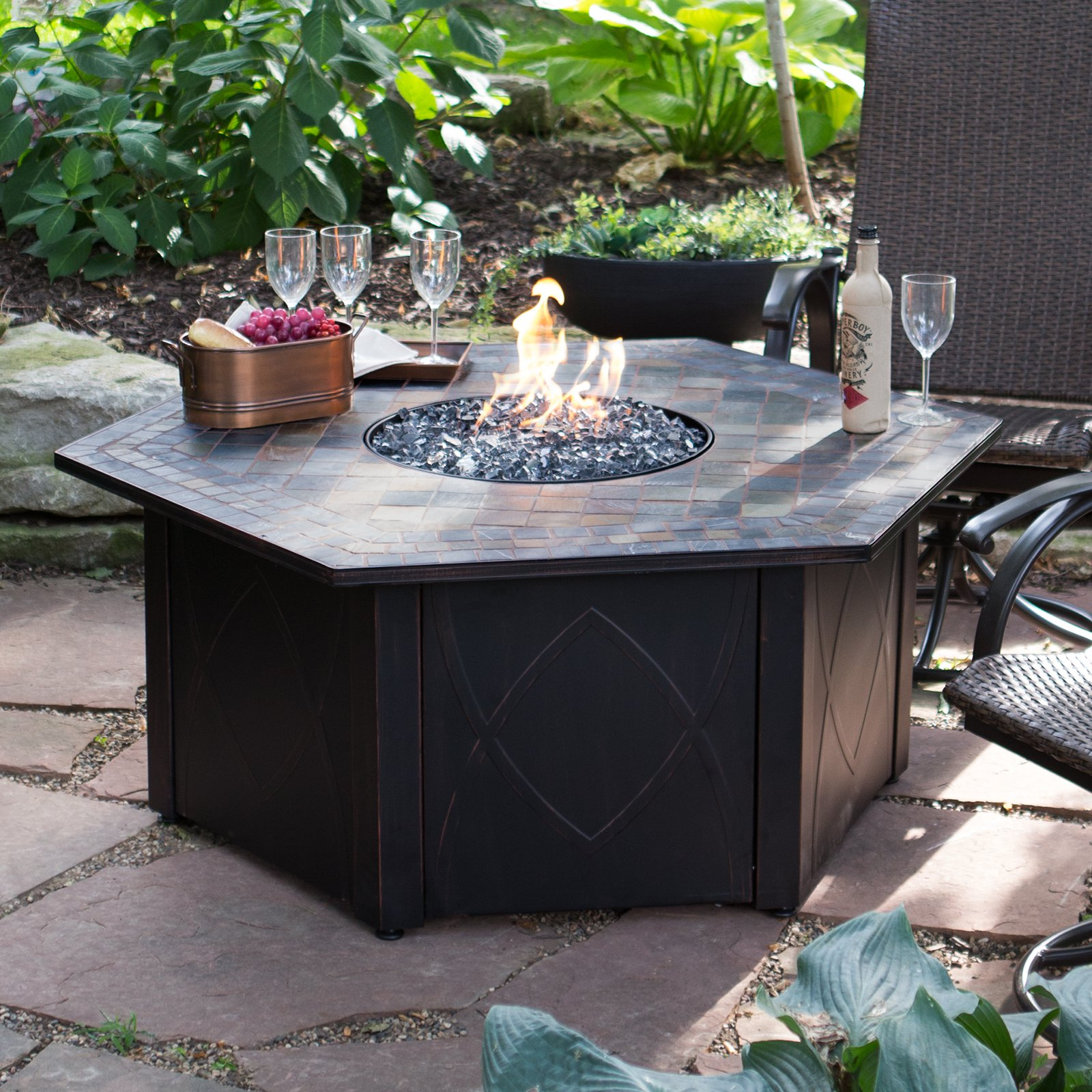endless summer 55 in decorative slate tile lp gas outdoor fire pit rh walmart com gas fire table costco gas fire table costco