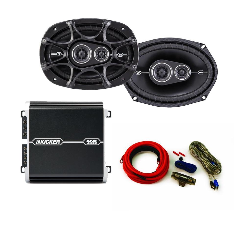Kicker DS 6x9 Speaker package with Kicker DX 125 watt 2-channel amplifier and wiring kit.