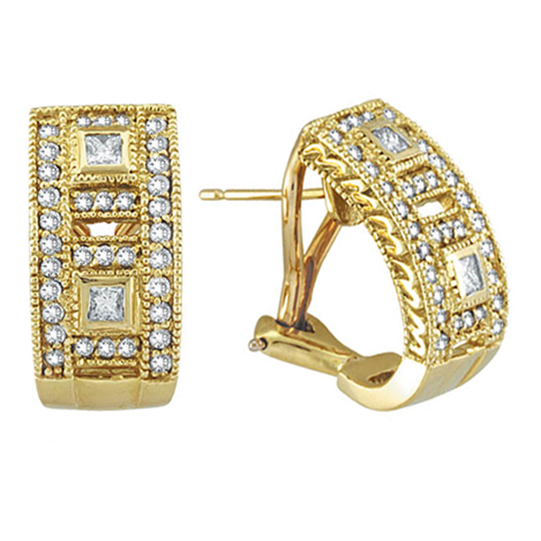 Princess and Round Diamond Huggie Earrings 18K Yellow Gold (1.00ct)