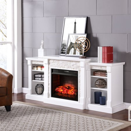 Grand Heights Faux Stone Low Profile Infrared Fireplace, For TV's up to 36
