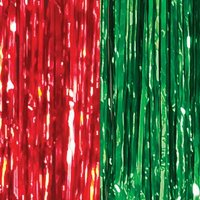 Red and Green Foil Door Curtain, 3ft x 8ft, 2ct