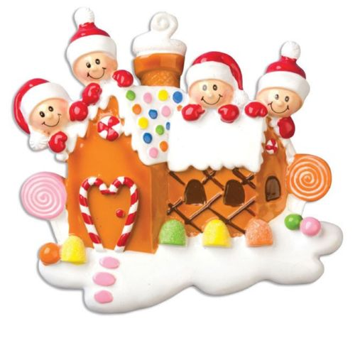 Gingerbread House Family of 4 Personalized Christmas Tree - Gingerbread Family Ornament