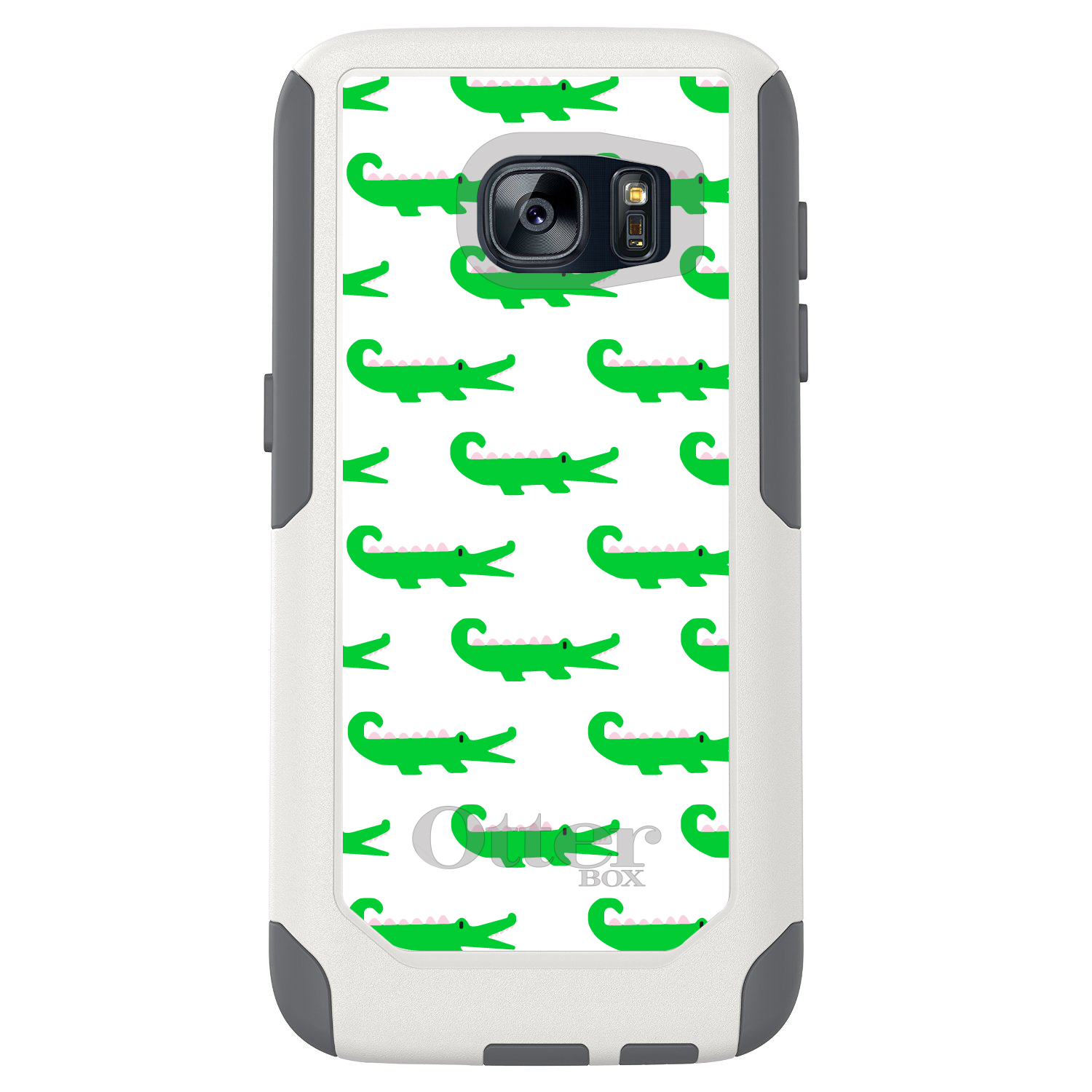 DistinctInk™ Custom White OtterBox Commuter Series Case for Samsung Galaxy S7 - Green White Alligators
