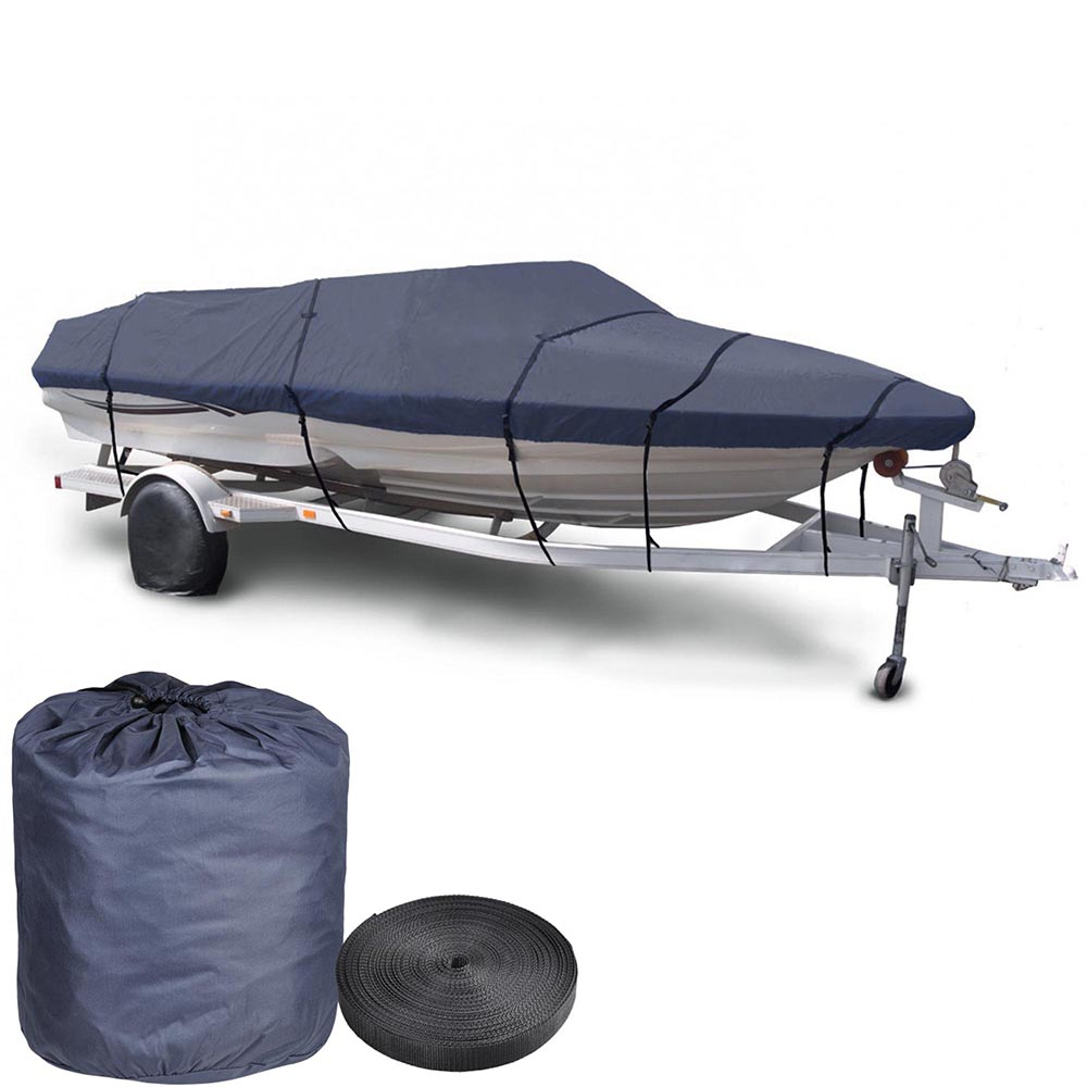 "Yescom 600D V-hull Ski Boat Cover Trailerable Waterproof Pontoon Covers 16 17 18' Beam 95"" w/ Oxford Bag Blue"