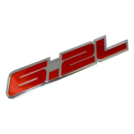 6.2L Liter in RED Highly Polished Aluminum Silver Chrome Car Truck Engine Swap Badge Nameplate Emblem for Chevy Camaro SS Corvette Cadillac L99 LS3 LSA C6 Pontiac G8 GXP V8 Vauxhall VXR8