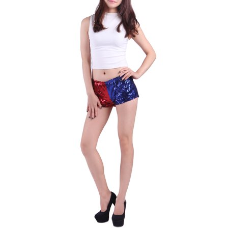 HDE Women's Red and Blue Metallic Sequin Booty Shorts For Harley Misfit Halloween Costume (Blue and Red, Small) - Misfits Band Halloween Costume