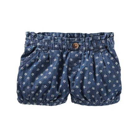 OshKosh B'gosh Baby Girls' Printed Chambray Bubble Shorts, 12