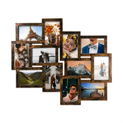 Photo Frame 19x22 Gold Picture Frame Selfie Gallery Collage Wall Hanging For 6x4 Photo - 12 Photo Sockets - Wall Mounting Design