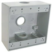 Hubbell Electrical TGB75-3 2 Gang Outlet Box With Three 0.75 in. IPT Thread Holes, Gray