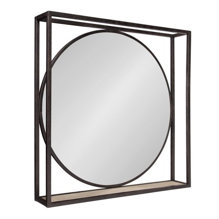 Kate and Laurel McCauley Decorative Rustic Modern Round Vanity Mirror with Square Metal Frame and Wood Shelf, Bronze ()