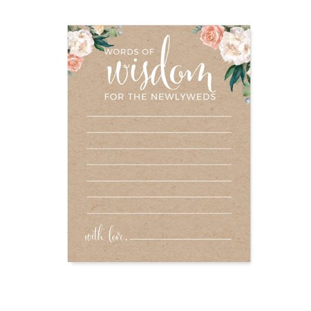 Party City Coral Way (Peach Coral Kraft Brown Rustic Floral Garden Party Wedding, Blank Words of Wisdom Newlywed Advice Cards,)