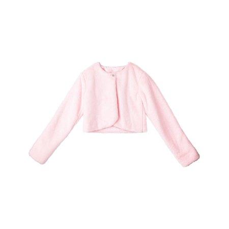 Pink Shrug - Designer Kidz Girls Pink Button Long Sleeved Thalula Fur Shrug