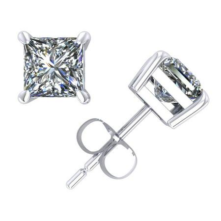 1.00Ct Princess Diamond Solitaire Stud Earrings 18k White Gold Prong Set G SI1 (Si1 Set Earrings)