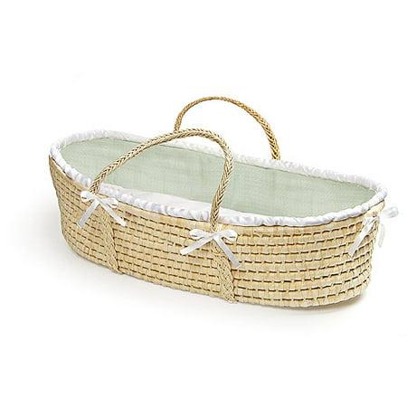Badger Basket - Natural Baby Moses Basket, Sage Waffle Bedding