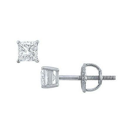 Platinum Princess Cut Diamond Stud Earrings 0.25 CT. TW. - image 1 de 2