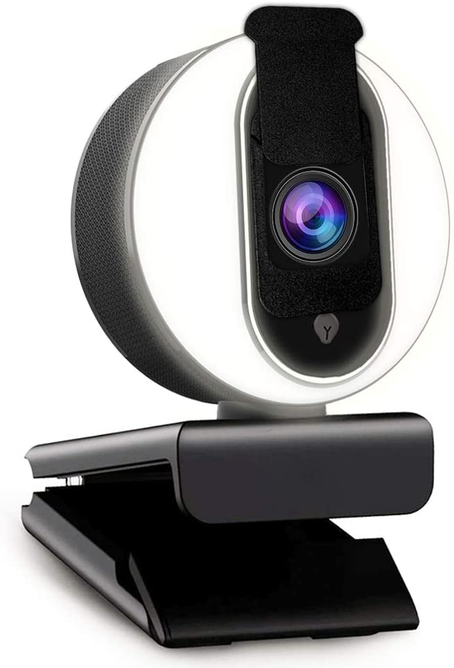 2021 CASECUBE FHD 1080P Webcam with Microphone and Ring Light,Plug and Play Web Camera,Adjustable Brightness,Privacy Protection,Streaming Webcam,USB Webcam for PC Desktop Laptop MAC,Zoom Skype YouTube