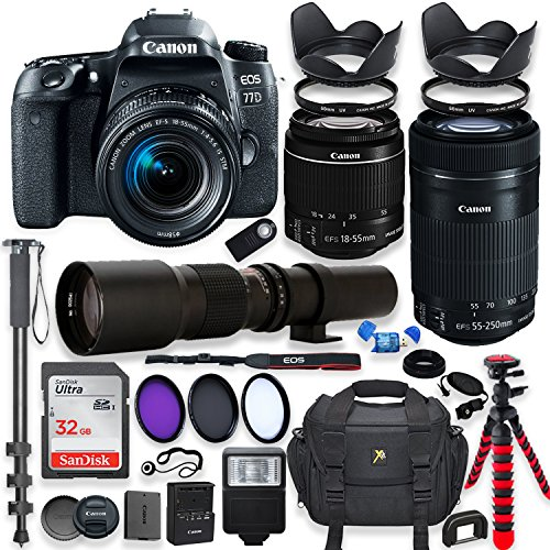 Canon EOS 77D DSLR Camera with 18-55mm STM Lens Bundle + Canon EF-S 55-250mm f/4-5.6 IS STM Lens and 500mm Preset Lens + 32GB Memory + Filters + Monopod + Spider Tripod + Professional Bundle