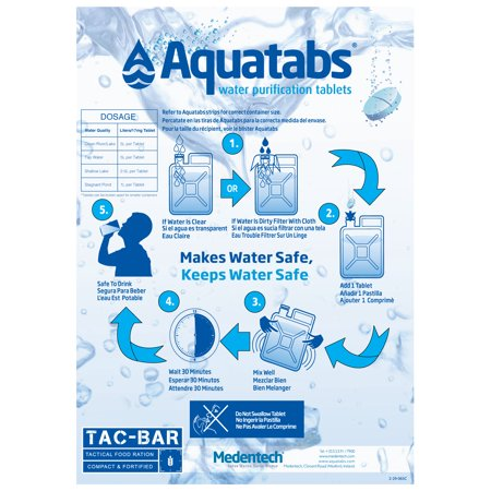 TAC-H2O Refill - 100 Aquatab Water Purification Tablets - By Tac-Bar Tactical Food Rations H2o+ Water White Brightening