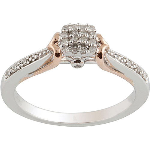 1/10 Carat T.W. Diamond Sterling Silver & 10kt Pink Gold Promise Ring