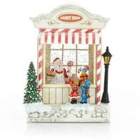 ReLive Christmas LED Santa Candy Shop Light Up Snow Globe Glitter Decor