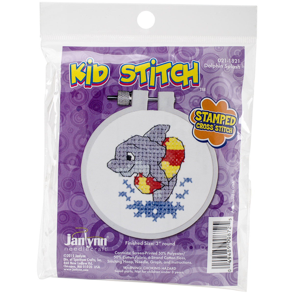 "Kid Stitch Dolphin Splash Stamped Cross Stitch Kit, 3"" Round"