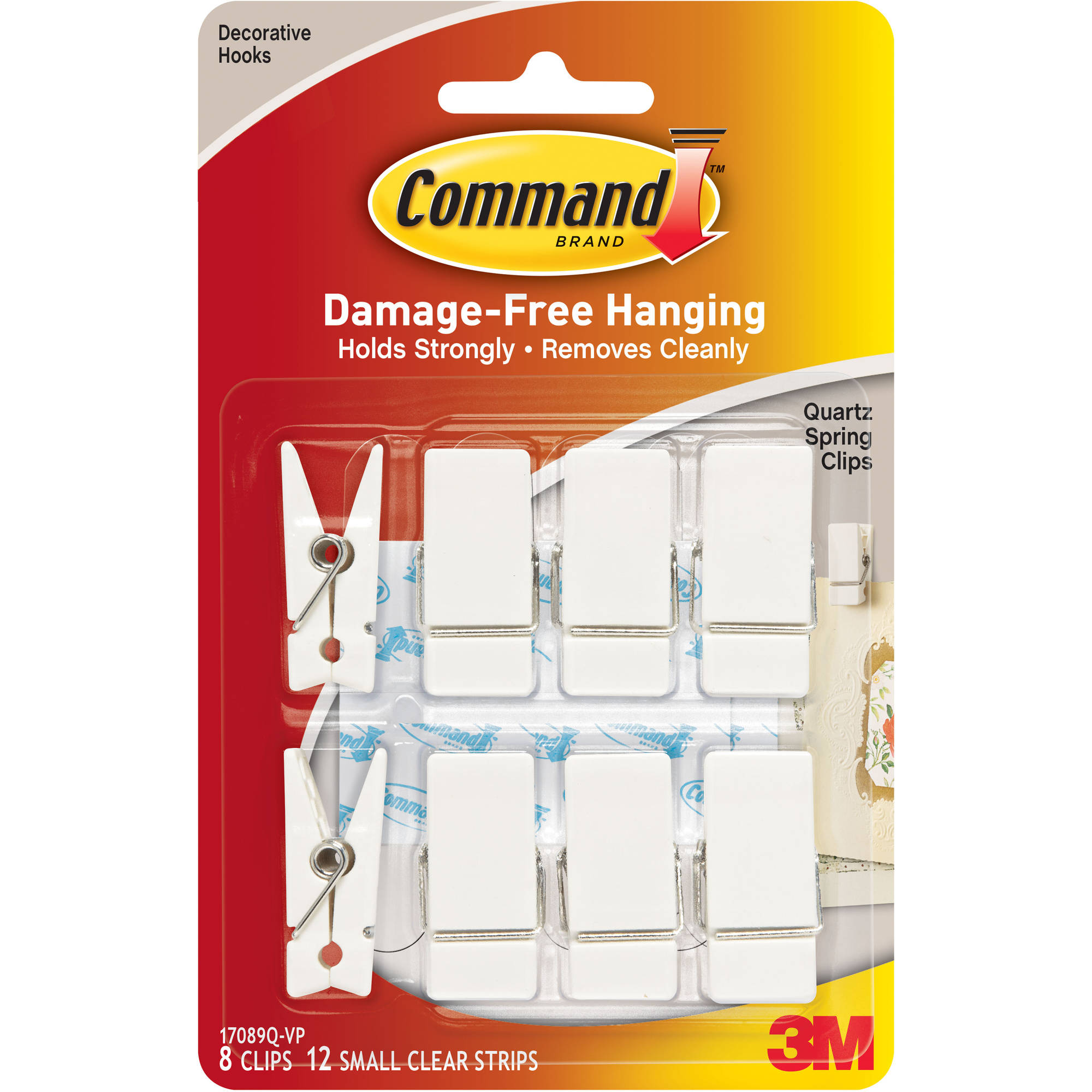 Command Quartz Spring Clips Value Pack, White, 8 Clips, 12 Strips/Pack