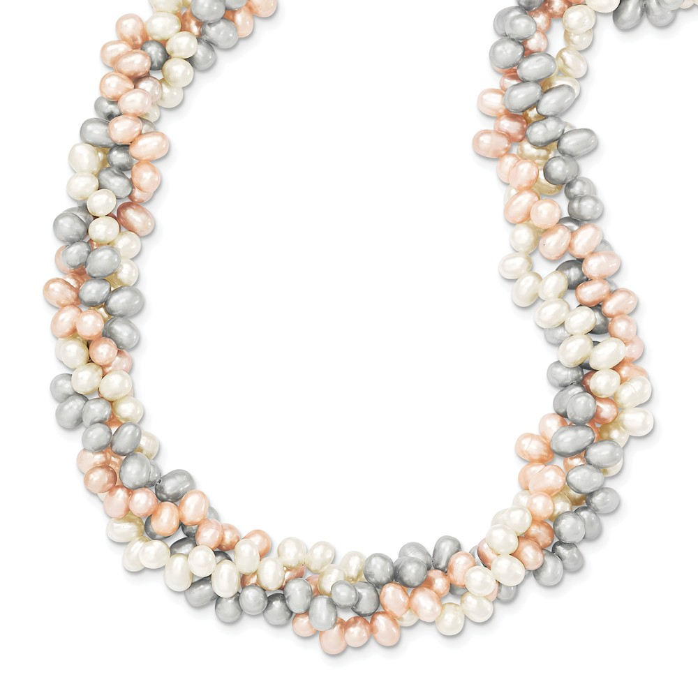 Sterling Silver 18in Tri-Color Freshwater Cultured Rice Pearl Necklace.
