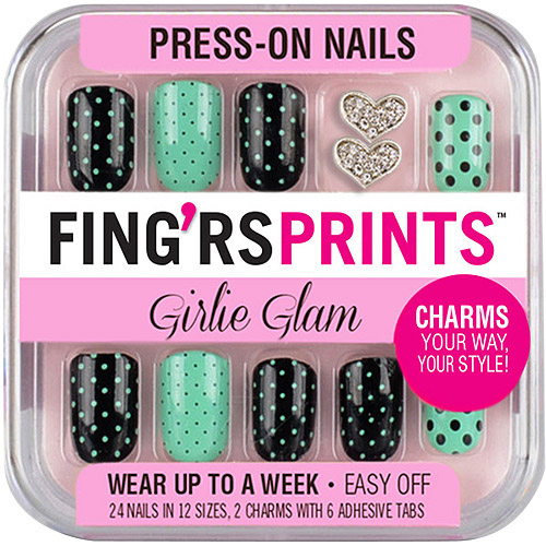 Fing'rs Prints Girlie Glam Press-On Nails, On The Dot, 26 count
