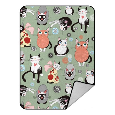 GCKG Lovely Cartoon Cats Fleece Blanket Crystal Velvet Front and Lambswool Sherpa Fleece Back Throw Blanket 58x80inches