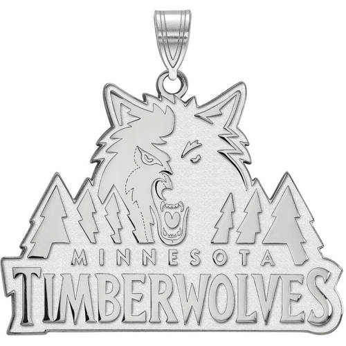 LogoArt NBA Minnesota Timberwolves 14kt White Gold Extra Large Pendant